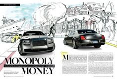 Like the cartoon vs realism contrast. I kind of wish they showed more of the Monopoly game since they have the Monopoly figure in the background Monopoly Money, Monopoly Game, Flying Spur, Bentley Continental, Magazine Design, Rolls Royce, Editorial Design, Design Inspiration, Cartoon