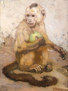 Monkey, clutching an apple to her breast Apple Painting, Baby Painting, Animal Paintings, Animal Drawings, Art Paintings, Magnificent Beasts, Monkey Tattoos, Monkey Art, Year Of The Monkey