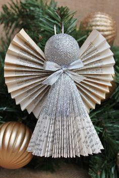 Angel Adorno ornamento de plata adornos de por whimsysworkshop