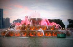 Buckingham Fountain with lights Can see in Chicago, Illinois Buckingham Fountain, Water Pictures, Fairytale Castle, My Kind Of Town, Boat Tours, Chicago Illinois, Sky High, City Lights, How Beautiful