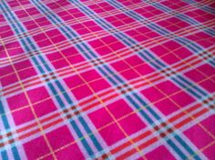 Pink plaid farbric 100 cotton. Hot pink with white red by JeAdore, $7.50