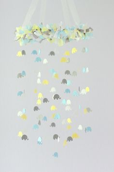 Baby Blue Yellow Gray & White Elephant Nursery by LoveBugLullabies