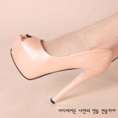 D83435 Kvoll pure color peep-toe high-heeled pump pink