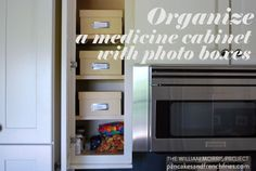 she uses a kitchen cabinet as a medicine cabinet. Great if you have more storage available in your kitchen than in the bathroom!