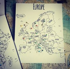 Push Pin Map Board Map of Europe World Travel by TexturedINK