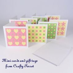8 Mini patterned note or greetings cards with envelopes in pink, green  yellow £4.00