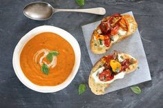 Beat the chill with this Cream of Tomato Soup, so easy and wallet friendly too! Pimp it up with mouthwatering slow roasted tomato and Fairview Wine and Cheese Cambozola bruschetta.  This recipe was published in Crush! Issue 41. #BitsOfCarey #TomatoSoup  http://bitsofcarey.co.za/recipe/cream-of-tomato-soup-with-roasted-tomato-and-gorgonzola-bruschetta/