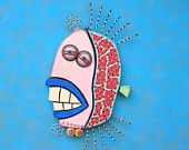 Twisted Flounder, Original Found Object Wall Sculpture, Wood Carving, Wall Decor, Animal Sculpture, by Fig Jam Studio
