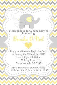 Mod yellow gray elephant baby shower invitation elephant baby baby shower birth announcement invitations chevron elephant any colour filmwisefo