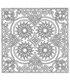 Free coloring page coloring-difficult-symmetry-tournesols. Adult coloring page based on Sunflowers for relaxation assured !