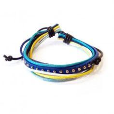 Lederarmband, multicolor, blau http://www.armband-dealer.de/shop/lederarmband/lederarmband-multicolor-blau/