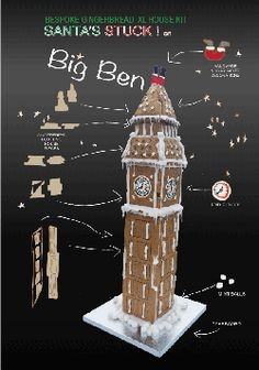 Santa's Stuck at Big Ben! Gingerbread or Chocolate bIscuit Extra Large Edible House Kit Fun Family Activity