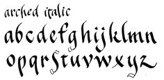 Arched Italic by Margaret Shepherd   Arched Italic lets this well-behaved calligraphy style escape from toeing the line and conforming to uniform standards. The letters themselves are slightly arched.