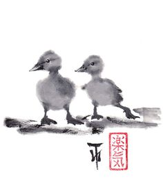 Print Two duckling friends - Sumi-e Japanese art Ink wash painting 8.5x11 - Reproduction Art Pet wall decor