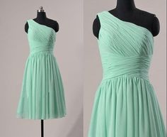 Cheap One-shoulder Ice Blue knee-length chiffon Mint pleated short prom/Evening/Party/Homecoming/cocktail /Bridesmaid/Formal Dress on Etsy, $68.00