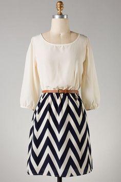 Southern Flair Dress ~ Navy & Cream Chevron Skirt ~ Click to Shop www.facebook.com/poshinpinkboutique
