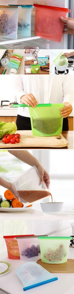 US$8.88 Reusable Silicone Vacuum Food Storage Sealer Bags Wrap Kitchen Fridge Containers