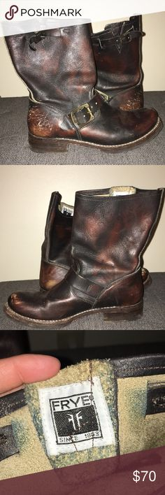Frye boots Frye 'Veronica Short' slouchy boot. Worn but still have lots of life left in them! Super cute, versatile boot. Frye Shoes Combat & Moto Boots