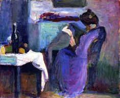Henri Matisse - Reading Woman with Violet Dress 1898. I love Matisse. His use of color heightens reality.