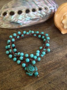 Surfing Turtle Turquoise 3x Wrap Bracelet, 2 x Anklet, Necklace Surfer Beach Chic. $28.00, via Etsy.