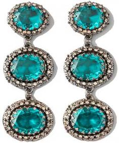My 18kt. white gold, temptingly turquoise  and diamond earrings...
