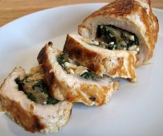 Feta, Spinach and Onion Stuffed Chicken