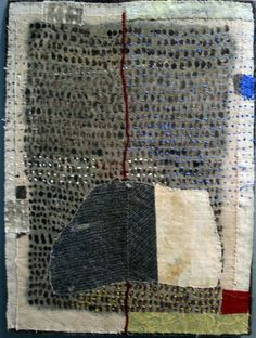 Dorothy Caldwell Crossing the River 2016 plant dyed and stitched linen 12.5 x 9.25 inches