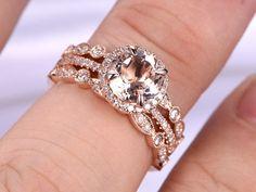 Morganite Engagement ringWedding Ring Set14k Rose goldArt