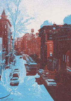 Bronx with a Ruin lithograph by Scott Hyde, 1970 Contemporary Photography, Art Photography, Museum Architecture, Tecno, Collage Art, Printmaking, Amazing Art, Screen Printing, Albrecht Durer