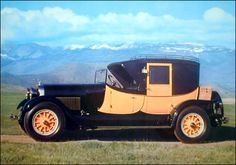1927 Lincoln Model L Judkins Coaching Brougham - Lincoln Motor Company, named after Abraham Lincoln, started in 1917 assembling Liberty aircraft engines. After WW1 they manufactured luxury automobiles and were bought out by Ford in 1922. This car was a nostalgic throwback to the carriage days with its lines, colors and interior, but with a modern 358ci.,80hp, V8 engine capable of 80mph.       Google Image Result for http://mclellansautomotive.com/photos/F6556.jpg