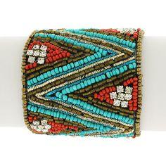 COWGIRL GYPSY CUFF Red & Aqua Seed Bead Crystal Chevron Boho Design on Black Western Cuff Bracelet