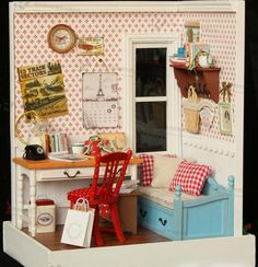 Dollhouse Miniature Model 3 DIY with Furniture, Accessories, Lighting