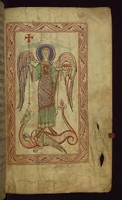 St. Michael and the Dragon ~ from an illuminated manuscript by Claricia.