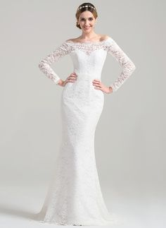 Trumpet/Mermaid Off-the-Shoulder Sweep Train Lace Wedding Dress (002084711)