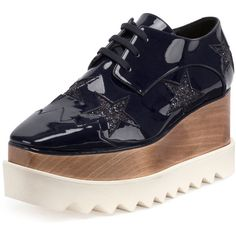 Stella Mccartney Elyse Stars Faux-Patent Platform Oxford ($1,100) ❤ liked on Polyvore featuring shoes, oxfords, night blue, shoes sneakers, cutout oxford shoes, cut-out oxfords, stella mccartney shoes, lace up oxfords and star shoes