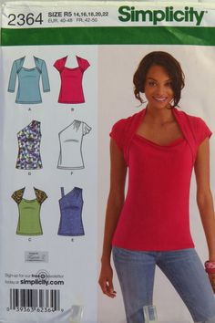 Simplicity Sewing Pattern 2364 Misses' Knit Tops