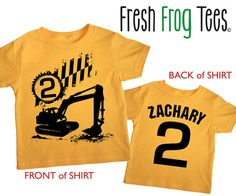 Second Birthday construction personalized Happy boys 2nd Party digger Toddler Art Print on Gold Short Sleeve tshirt 1st, 2nd, 3rd, 4th, 5th