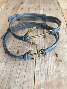 Anchor bracelet set His and Her matching bracelets Couples jewelry Leather bracelet set Couples bracelets Couples gift Jewelry Nautical by QberryCreations on Etsy