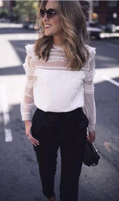 Pieced Lace Long Sleeve Blouse