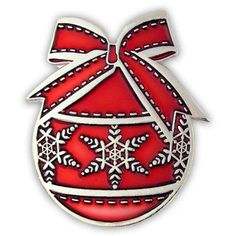 Christmas Ornament Pin - Red . $3.95