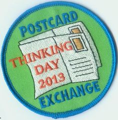International Thinking Day Postcard Exchange 2013 Patch want to do this with the girls next school year Girl Scouts Usa, Girl Scout Swap, Daisy Girl Scouts, Girl Scout Troop, Girl Scout Fun Patches, Brownie Guides, Girl Scout Badges, Girl Scout Activities, Girl Scout Camping