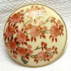 Lovely Vintage 1920's 1930's Japanese Satsuma Button w Sweet Pink Plum Blossoms | eBay