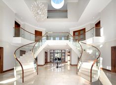 Foyer w/ Double Staircase<br> Luxury Staircase, Double Staircase, Modern Staircase, Staircase Design, Grand Staircase, Dream Home Design, Modern House Design, Style At Home, Modern Mansion Interior