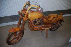 Decorative wooden motorcycle $200 - Calabasas http://furnishly.com/decorative-wooden-motorcycle.html