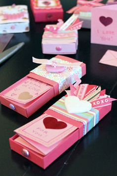 matchbox valentines with a folded note inside.