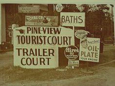 Trailer Park Woodbine Gerogia Soda Signs- Hires Sepia Card Stock Photo 1950's