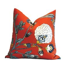 Robert Allen fabric in shades of tangerine, persimmon, cream and blue. cotton in this DwellStudio Pillow Cover Auretta Persimmon Orange Pillow Covers, Orange Pillows, Floral Pillows, Robert Allen Fabric, Down Feather, Fabric Samples, Decoration, Throw Pillows, Pattern