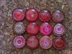 Push Pins  Shades of Pink  Mandala  set of 12 by OhMyMagnets, $7.00