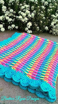 Rainbow Dash Baby Blanket by Beatrice Ryan Designs #crochet #freepattern