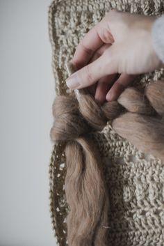 Free Crochet Pattern for a Crocheted & Woven Wall Hanging — Megmade with Love Crochet Cushion Pattern, Crochet Cushions, Crochet Patterns, Crochet Wall Art, Crochet One Piece, Yarn Bee, Burlap Ribbon, Woven Wall Hanging, Yarn Needle